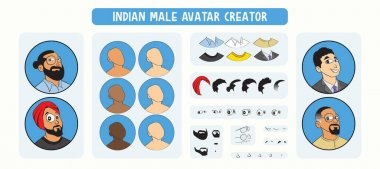 Indian Male Avatar Profile Picture Drag & Drop Building Kit. Set of Indian Faces with different hairstyles including a turban and different expressions. DIY face building kit for Indian male character. icon