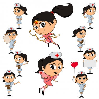 International Nurses Day celebration Vector Illustrations Pack of 10 Nurse Characters in Uniform Pointing in different directions and holding signs. Get well soon and super hero nurses. icon