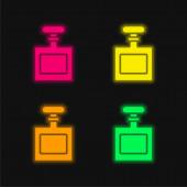 Flasche vier Farbe leuchtenden Neon-Vektor-Symbol