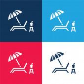 Strandstuhl blau und rot vier Farben minimales Symbol-Set