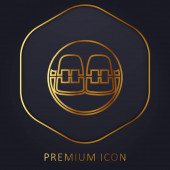 Zahnspange goldene Linie Premium-Logo oder Symbol