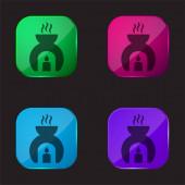 Aromatherapy four color glass button icon