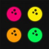 Bowling koule čtyři barvy zářící neonový vektor ikona