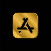 App Store pozlacená metalická ikona nebo vektor loga