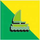 Zöld és sárga modern 3D vektor ikon logó