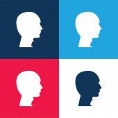 Kopasz ember Fej kék és piros négy szín minimális ikon készlet