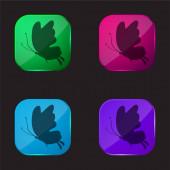 Gyönyörű pillangó sziluett négy színű üveg gomb ikon