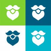 Szakáll Lapos négy szín minimális ikon készlet