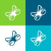 Krásný motýl Byt čtyři barvy minimální ikona sada
