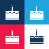 Narozeninový dort s jednou svíčkou modrá a červená čtyři barvy minimální ikona sada