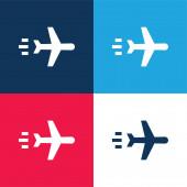 Letadlo modré a červené čtyři barvy minimální ikona nastavena