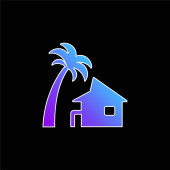 Beach House blauer Gradienten-Vektor-Symbol