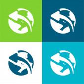 Pfeil auf Globus Flache vier Farben Minimalsymbolset