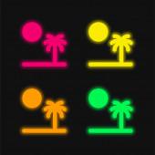 Pláž čtyři barvy zářící neonový vektor ikona
