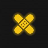 Binde gelb glühendes Neon-Symbol