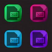 3g2 čtyři barvy skleněné tlačítko ikona