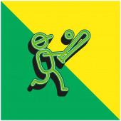 Baseballspieler grün und gelb modernes 3D-Vektor-Symbol-Logo