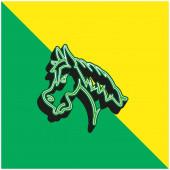 Angry Horse Face Side View Outline Zöld és sárga modern 3D vektor ikon logó