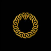 Bracelet gold plated metalic icon or logo vector