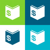 Book Of Economy With Dollar Money Sign Flat four color minimal icon set