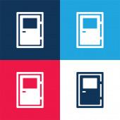 Big Door modré a červené čtyři barvy minimální ikona nastavena