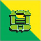 Ugráló vár Zöld és sárga modern 3D vektor ikon logó