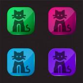 Black Cat vier farbige Glasknopf-Symbol