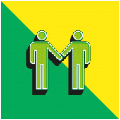 Vereinbarung Grünes und gelbes modernes 3D-Vektor-Symbol-Logo
