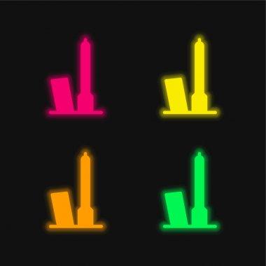 Bologna four color glowing neon vector icon stock vector
