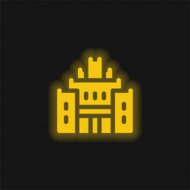 African Heritage House yellow glowing neon icon