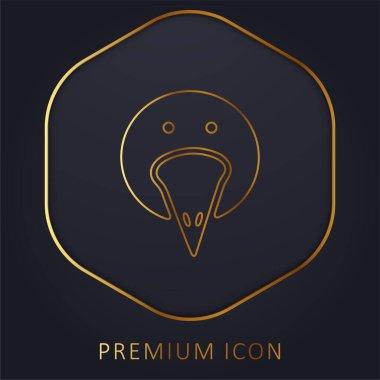 Bird Portrait golden line premium logo or icon stock vector