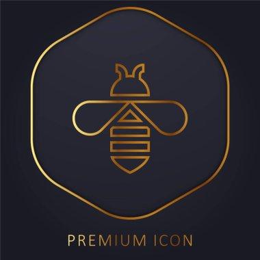 Bee golden line premium logo or icon stock vector