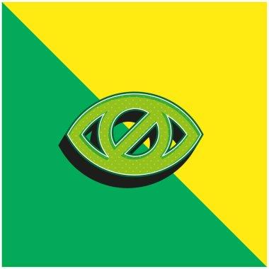 Blind Eye Sign Green and yellow modern 3d vector icon logo stock vector