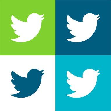 Big Twitter Logo Flat four color minimal icon set stock vector
