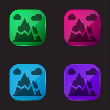 Alps four color glass button icon stock vector