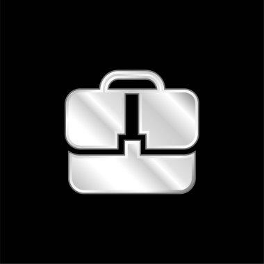 Black Handbag silver plated metallic icon