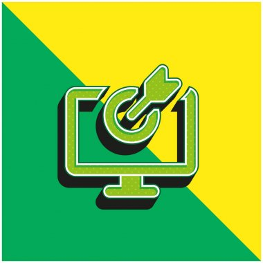 Bow Green and yellow modern 3d vector icon logo stock vector