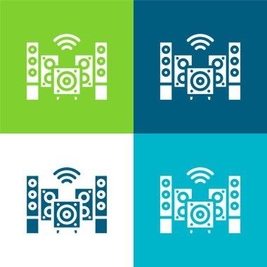 Audio Flat four color minimal icon set stock vector