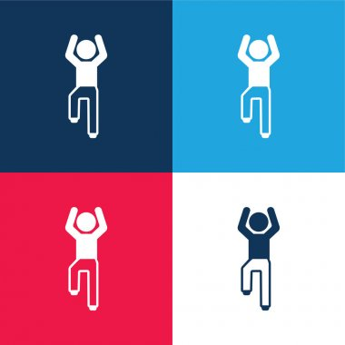 Boy Flexing Arms And One Leg blue and red four color minimal icon set stock vector