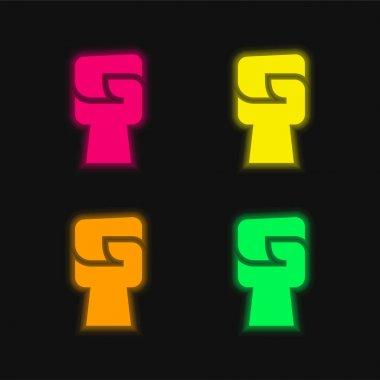 Black Power four color glowing neon vector icon stock vector
