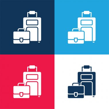 Baggage blue and red four color minimal icon set stock vector