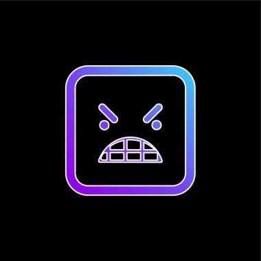 Anger Emoticon Square Face blue gradient vector icon stock vector