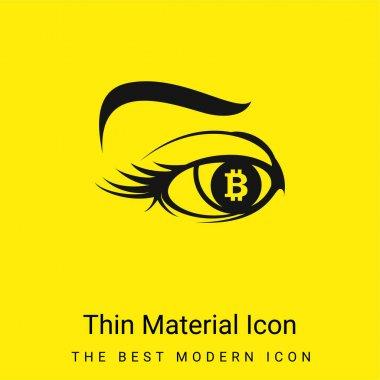 Bitcoin Sign In Eye Iris minimal bright yellow material icon stock vector