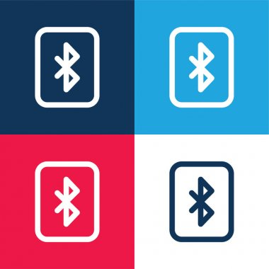 Bluetooth blue and red four color minimal icon set stock vector
