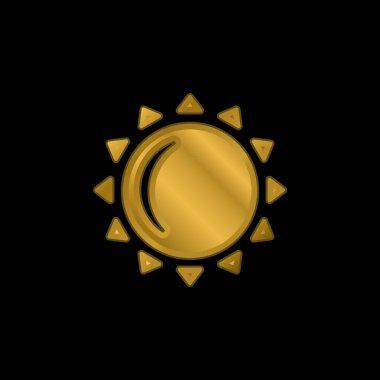 Big Sun gold plated metalic icon or logo vector stock vector