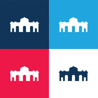 Alcala Gate Spain blue and red four color minimal icon set