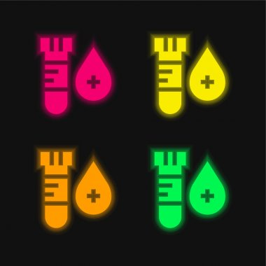Blood Test four color glowing neon vector icon stock vector