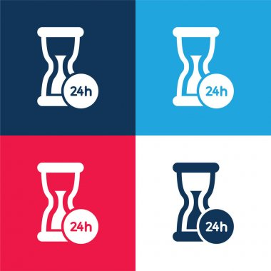 24 Hours Support blue and red four color minimal icon set stock vector