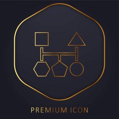 Blocks Scheme Of Five Geometric Basic Black Shapes golden line premium logo or icon stock vector