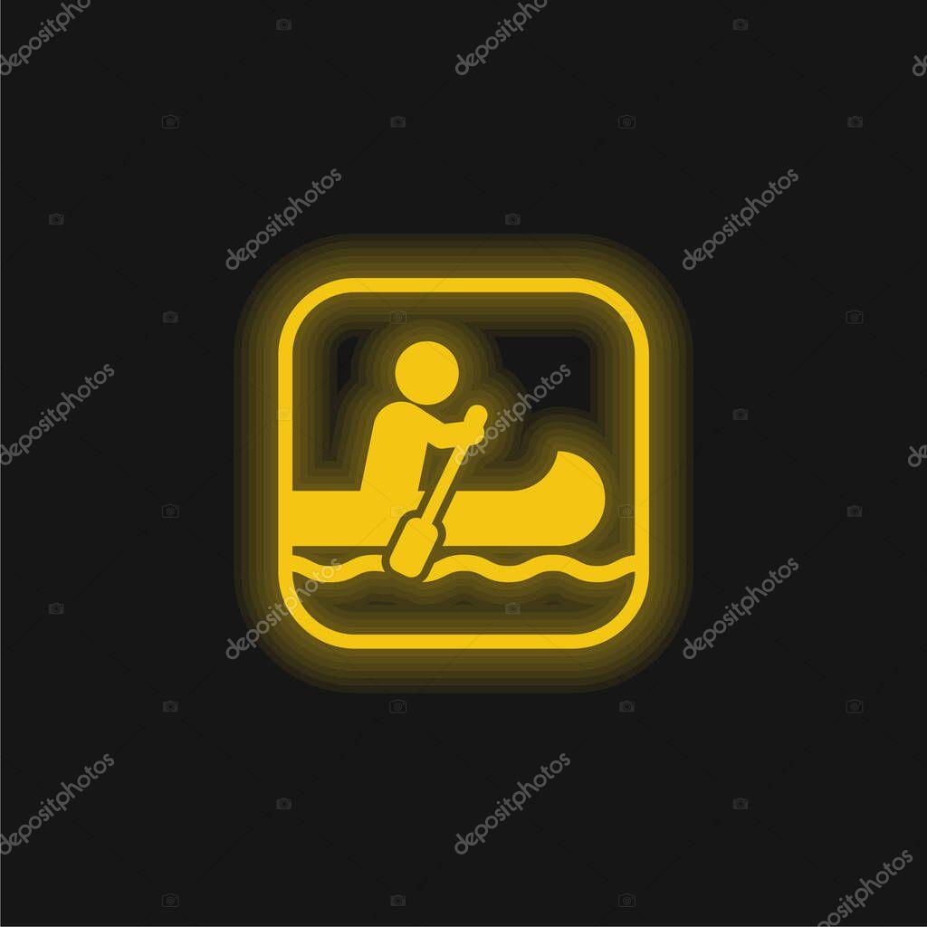 Nautica segno giallo incandescente icona al neon